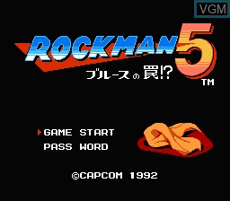 Title screen of the game Rockman 5 - Blues no Wana! on Nintendo NES