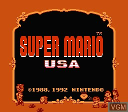 Title screen of the game Super Mario USA on Nintendo NES