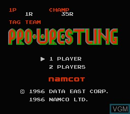 Title screen of the game Tag Team Pro-Wrestling on Nintendo NES