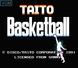 Title screen of the game Taito Basketball on Nintendo NES