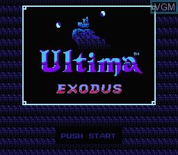 Title screen of the game Ultima - Kyoufu no Exodus on Nintendo NES