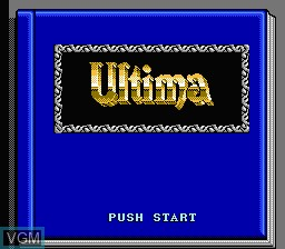 Title screen of the game Ultima - Seisha e no Michi on Nintendo NES