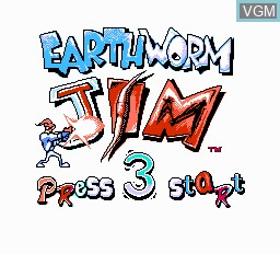 Title screen of the game EarthWorm Jim 2 on Nintendo NES
