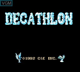 Title screen of the game Decathlon on Nintendo NES