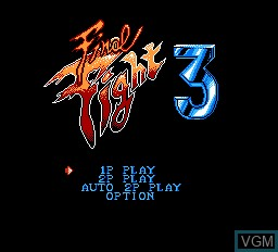 Title screen of the game Final Fight 3 on Nintendo NES