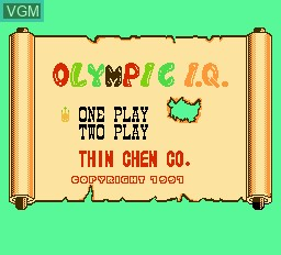 Title screen of the game Olympic IQ on Nintendo NES
