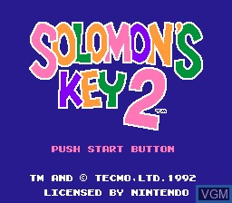 Title screen of the game Solomon's Key 2 on Nintendo NES