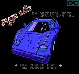 Title screen of the game Death Race on Nintendo NES