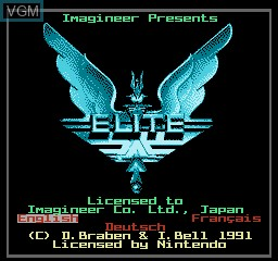 Title screen of the game Elite on Nintendo NES