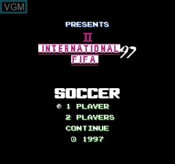 Title screen of the game FIFA 97 International Soccer on Nintendo NES