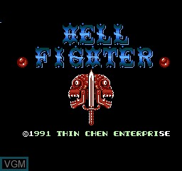 Title screen of the game Hell Fighter on Nintendo NES