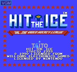 Title screen of the game Hit the Ice on Nintendo NES