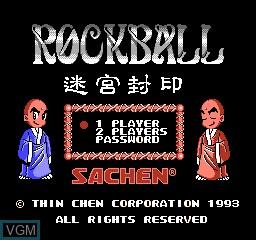 Title screen of the game Rockball on Nintendo NES