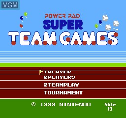 Title screen of the game Super Team Games on Nintendo NES