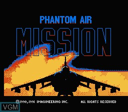 Title screen of the game Phantom Air Mission on Nintendo NES