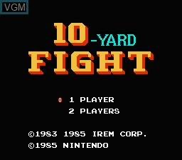 Title screen of the game 10-Yard Fight on Nintendo NES