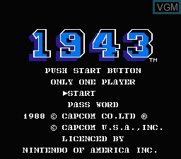 Title screen of the game 1943 - The Battle of Midway on Nintendo NES