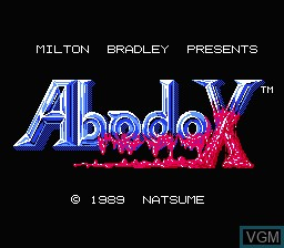 Title screen of the game Abadox - The Deadly Inner War on Nintendo NES