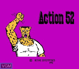 Title screen of the game Action 52 on Nintendo NES