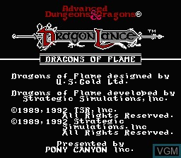 Title screen of the game Advanced Dungeons & Dragons - Dragons of Flame on Nintendo NES