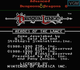 Title screen of the game Advanced Dungeons & Dragons - Heroes of the Lance on Nintendo NES