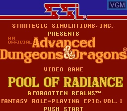 Title screen of the game Advanced Dungeons & Dragons - Pool of Radiance on Nintendo NES