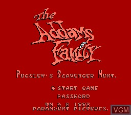Title screen of the game Addams Family, The - Pugsley's Scavenger Hunt on Nintendo NES
