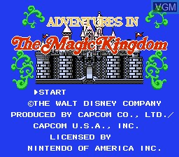 Title screen of the game Adventures in the Magic Kingdom on Nintendo NES