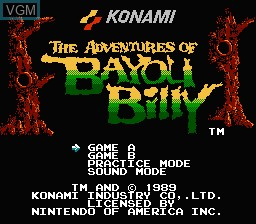 Title screen of the game Adventures of Bayou Billy, The on Nintendo NES