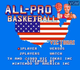 Title screen of the game All-Pro Basketball on Nintendo NES