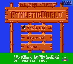 Title screen of the game Athletic World on Nintendo NES