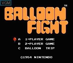 Title screen of the game Balloon Fight on Nintendo NES
