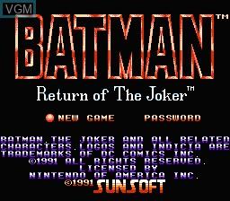 Title screen of the game Batman - Return of the Joker on Nintendo NES