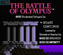 Title screen of the game Battle of Olympus, The on Nintendo NES