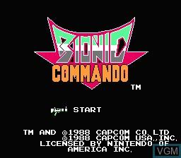 Title screen of the game Bionic Commando on Nintendo NES