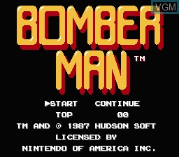 Title screen of the game Bomberman on Nintendo NES