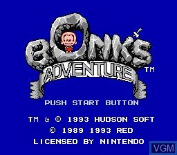 Title screen of the game Bonk's Adventure on Nintendo NES