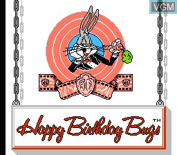 Title screen of the game Bugs Bunny Birthday Bash on Nintendo NES