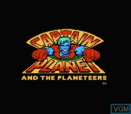 Title screen of the game Captain Planet and The Planeteers on Nintendo NES