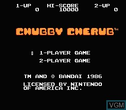 Title screen of the game Chubby Cherub on Nintendo NES