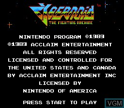 Title screen of the game Cybernoid - The Fighting Machine on Nintendo NES