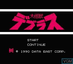 Title screen of the game Daikaijuu Deburas on Nintendo NES