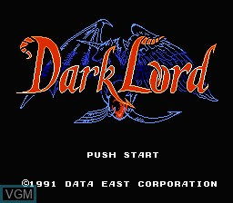 Title screen of the game Dark Lord on Nintendo NES