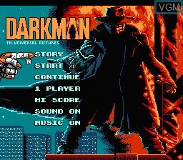 Title screen of the game Darkman on Nintendo NES