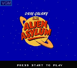 Title screen of the game Dash Galaxy in the Alien Asylum on Nintendo NES