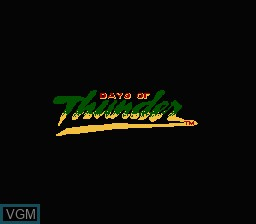 Title screen of the game Days of Thunder on Nintendo NES