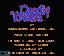 Title screen of the game Deadly Towers on Nintendo NES