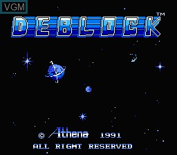 Title screen of the game Deblock on Nintendo NES