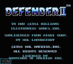 Title screen of the game Defender II on Nintendo NES