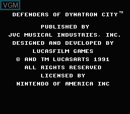 Title screen of the game Defenders of Dynatron City on Nintendo NES